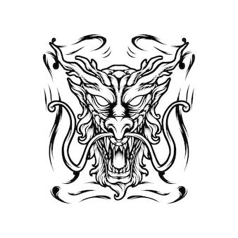 Dragon head japan silhouette