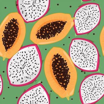 Dragonfruit (pitaya, pitahaya) e papaia sem costura padrão.