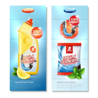 Drain cleaner vertical set