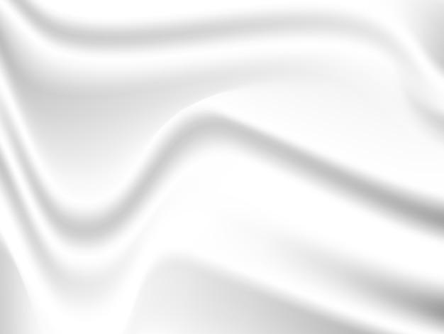 Drape têxtil de tecido de pano de seda cetim branco de vetor com dobras onduladas do vinco