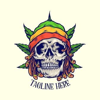 Dreadlock rastaman crânio folha jamaicana ilustrações de fundo de ervas daninhas