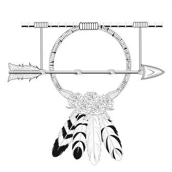 Dream catcher arrow estilo tribal rústico