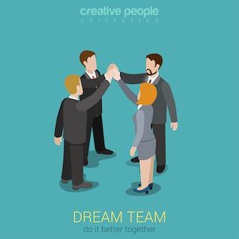 Dream team teambuilding quatro empresários juntam as mãos para fazer um conceito isométrico de acordo
