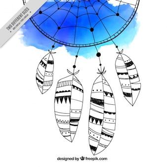 Dreamcatcher em uma aguarela azul