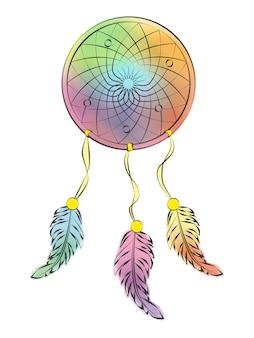 Dreamcatcher multicolorido em um fundo branco. ilustração vetorial. isolado no branco. estilo de desenho animado.