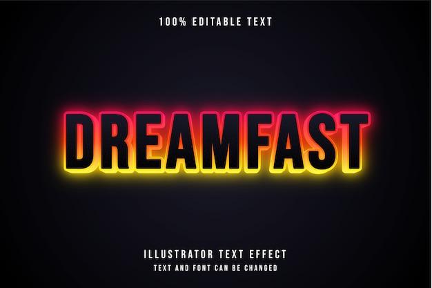 Dreamfast, efeito de texto editável em 3d gradação de rosa laranja amarelo efeito de texto neon