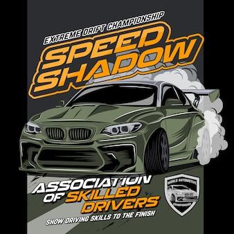 Drift de carro rápido, ilustração vetorial de carro