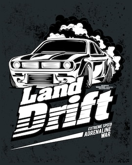 Drift summer land, ilustração de um carro super clássico