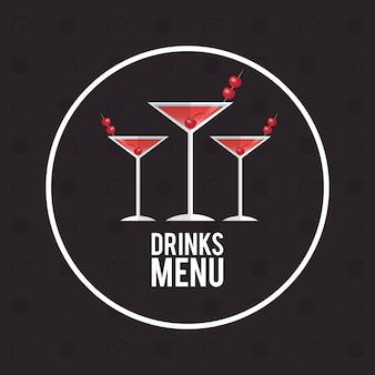 Drink menu alcoólico cocktail manhattan
