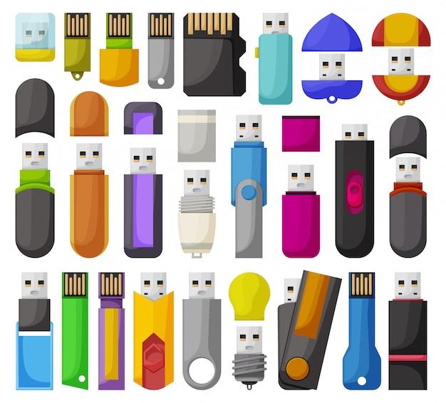Drives flash isolado conjunto de ícones dos desenhos animados. desenhos animados definir ícone usb.