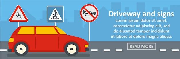 Driveway e sinais banner conceito horizontal