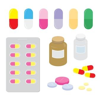 Droga medicina painel pílula dose cápsula curar vector