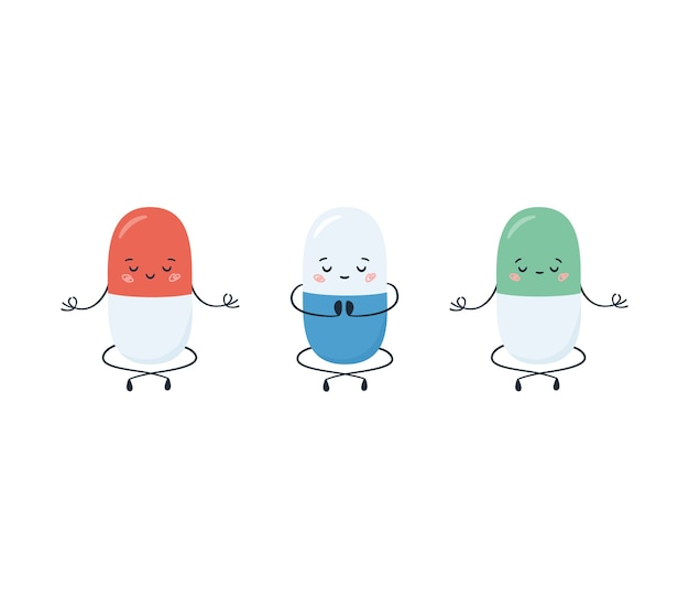 Drogas antidepressivas na posição de meditação e ioga. um remédio para a depressão. personagens engraçados de desenhos animados kawaii isolados no fundo branco