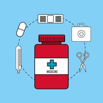 Drogas farmacêuticas e ícone de cirurgia