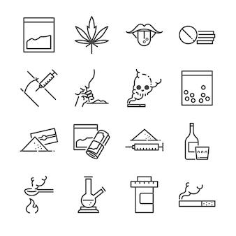 Drogas linha conjunto de ícones.