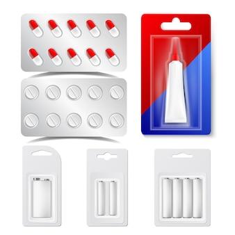 Drogas, pílulas, bolhas, baterias