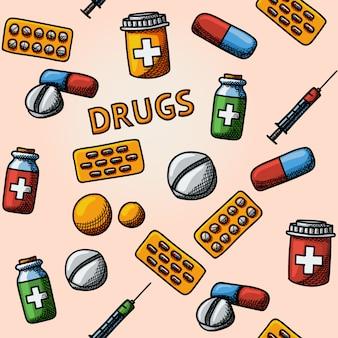 Drogas sem costura, padrão desenhado à mão de comprimidos