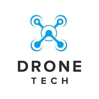 Drone criativo para a indústria de tecnologia, design de logotipo moderno e elegante, simples