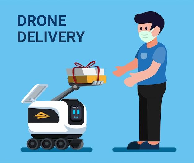 Drone dando pacote ao cliente, serviço de entrega de correio robô no vetor de ilustração plana dos desenhos animados
