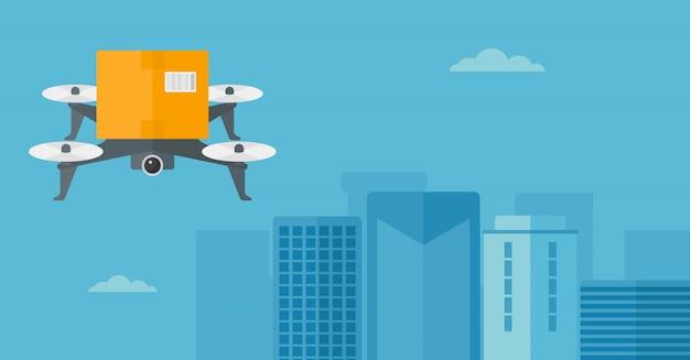 Drone de entrega entregando pacote de postagem para o cliente