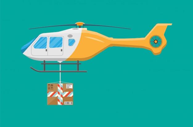 Drone de helicóptero com caixa.