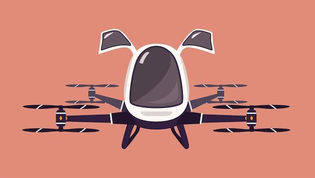 Drone de táxi ou quadricóptero de passageiros.