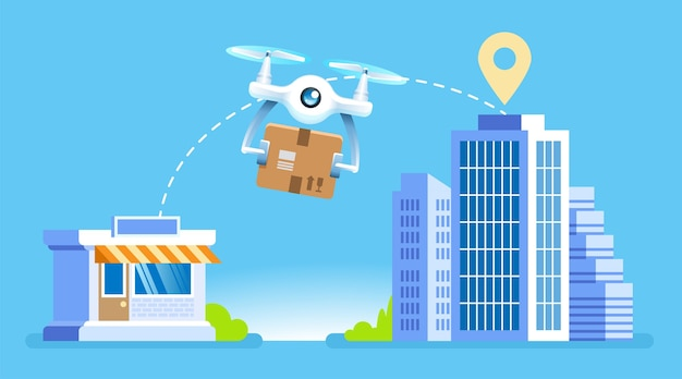 Drone delivery drone com pacote voando da loja para edifícios modernos