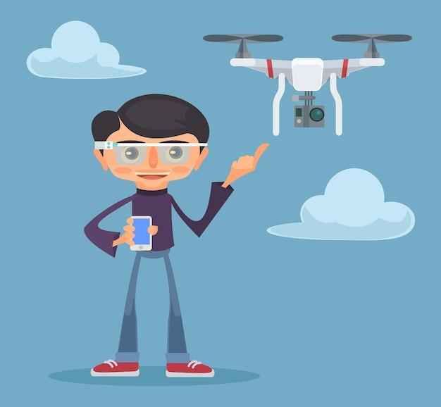 Drone e homem. ilustração plana