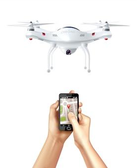 Drone e smartphone com app de navegação