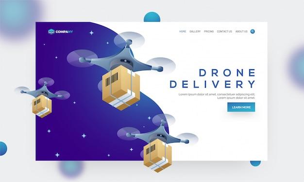 Drone entrega conceito baseado herói banner