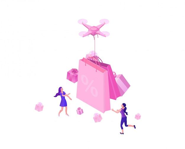 Drone entregando a caixa de presente rosa