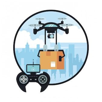Drone entregando caixa na cidade
