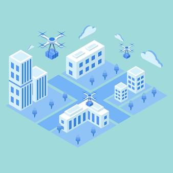 Drone isométrico de entrega com o conceito de pacote