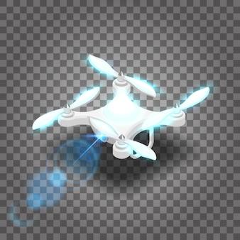 Drone isométrico quadcopter 3d, voe no rádio.