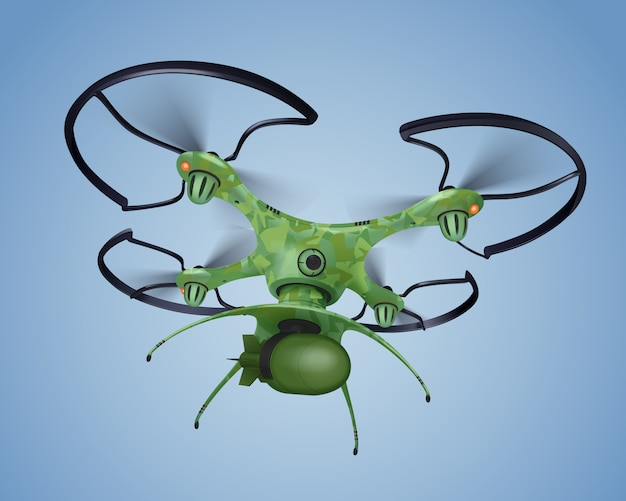 Drone militar com composição realista de bomba na cor hakki voando acima do teto