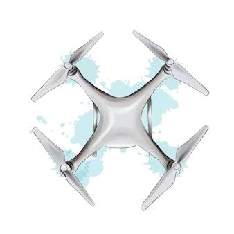 Drone não tripulado de respingos de aquarelas coloridas desenho ilustração vetorial realista de tintas