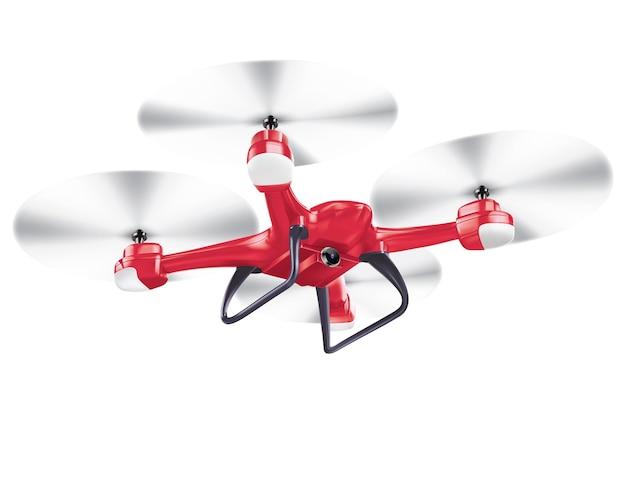 Drone quadrocopter isolado em ilustração realista branca