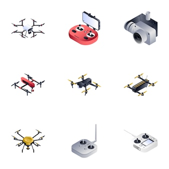 Drone set, estilo isométrico