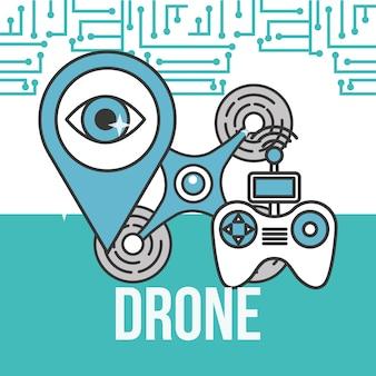Drone tecnologia controlador ponteiro vigilância destino
