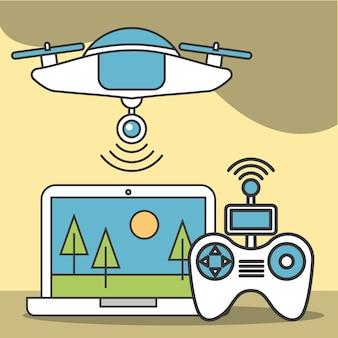 Drone tecnologia futurista laptop controle sinal