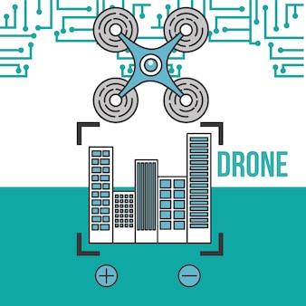 Drone tecnologia futurista voando zoom localização da cidade