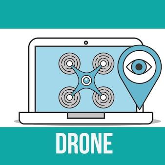 Drone tecnologia laptop secuirty vigilância