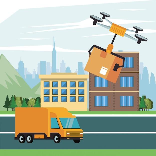 Drone tecnologia voando com caixa na cidade