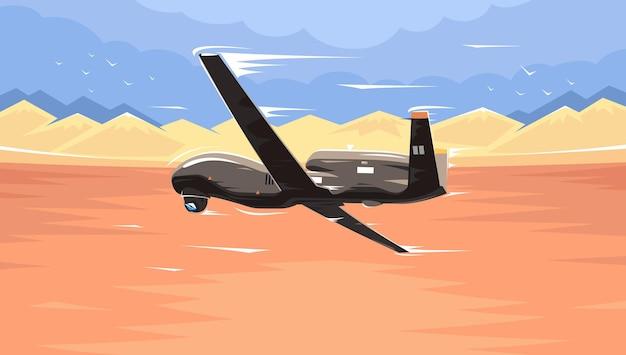 Drone uav. drone militar espião drone. ilustração vetorial isolada no fundo branco. um drone militar sobre o deserto. drone sobre o campo de batalha. um olho dos militares no céu. vetor eps 10