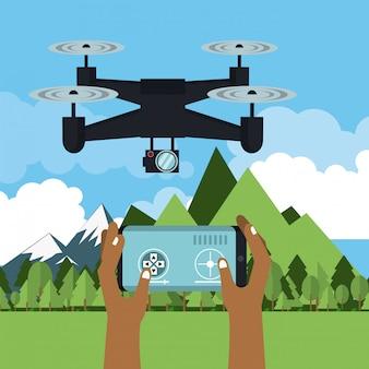 Drone voando na natureza