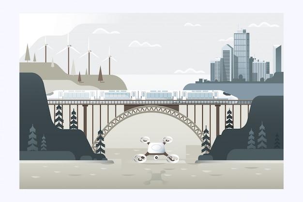 Drone voando sobre a cidade.