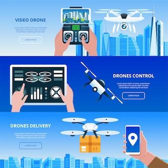 Drones com caixa e controle remoto voando sobre a cidade. mãos com ilustração do elemento tablet