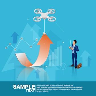 Drones de controle de líder de negócios futuro isométrico