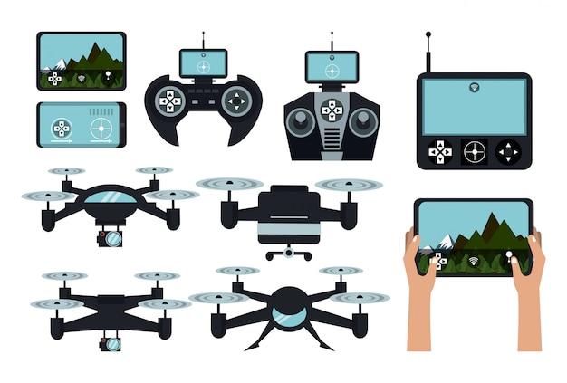 Drones e controles remotos