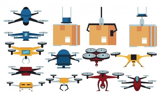 Drones e ícones de entrega